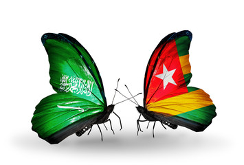 Two butterflies with flags Saudi Arabia and Togo