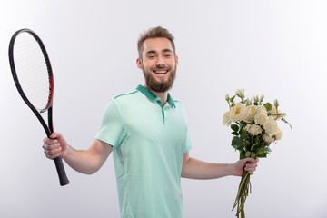 Tennis player with bouquet of flowers