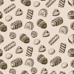 Vector seamless pattern with chocolates