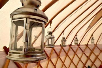 Lanterns Hanging Inside a Yurt