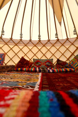 Rugs and Cushions Inside a Traditional Yurt