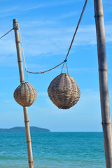 Bamboo Hanging Lanterns on a Southeast Asian Beach