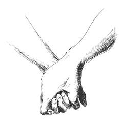 hand sketch holding hands