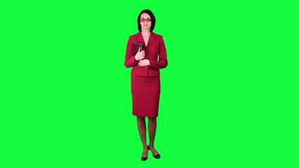Business woman disagrees chroma key