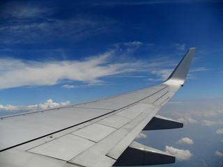 Aeroplane Wing in Flight in Blue Sky