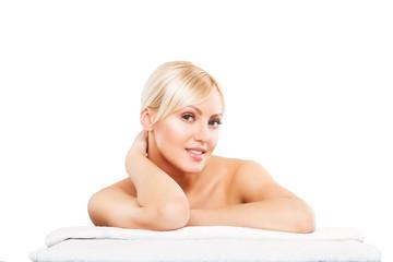 Spa. Face skincare beauty woman smiling happy. Beautiful