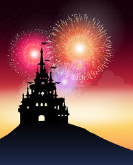 castle with fire work