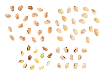Set of multiple pistachios isolated