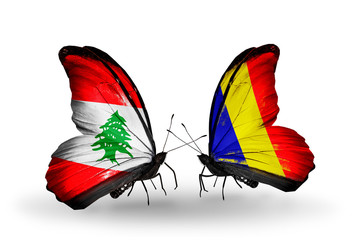 Two butterflies with flags Lebanon and Chad, Romania