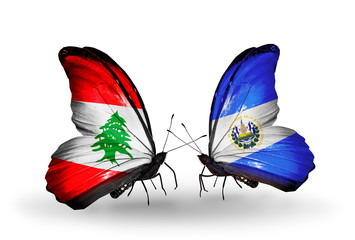 Two butterflies with flags Lebanon and Salvador
