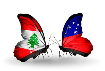 Two butterflies with flags Lebanon and Samoa