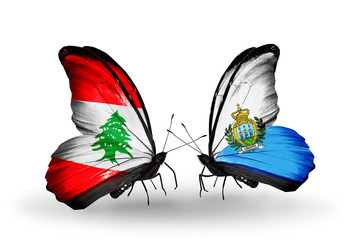 Two butterflies with flags Lebanon and San Marino