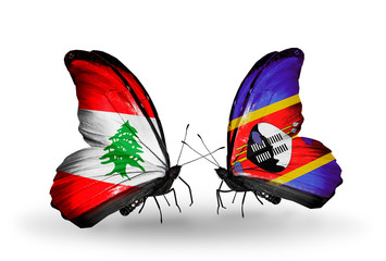 Two butterflies with flags Lebanon and Swaziland
