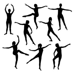 Silhouette of a girl dancing ballet