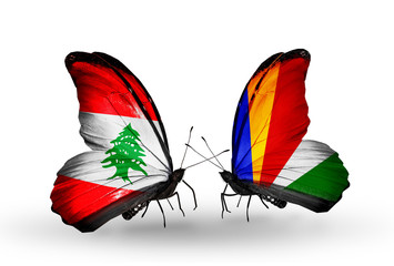 Two butterflies with flags Lebanon and Seychelles