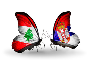 Two butterflies with flags Lebanon and Serbia
