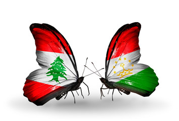 Two butterflies with flags Lebanon and Tajikistan