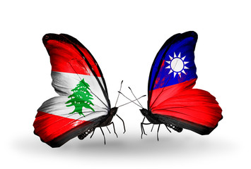 Two butterflies with flags Lebanon and Taiwan
