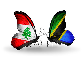 Two butterflies with flags Lebanon and Tanzania