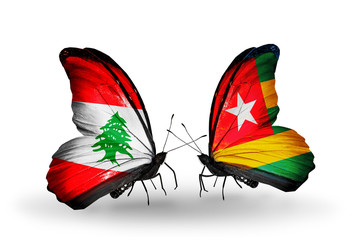 Two butterflies with flags Lebanon and Togo