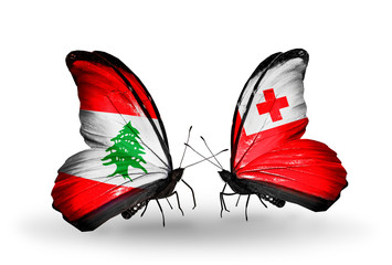 Two butterflies with flags Lebanon and Tonga
