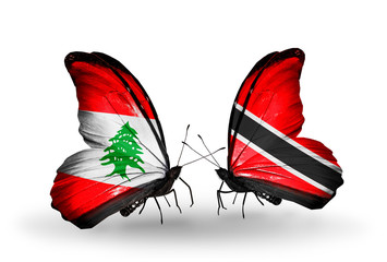 Two butterflies with flags Lebanon and Trinidad and Tobago