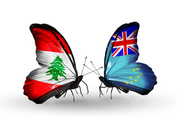 Two butterflies with flags Lebanon and Tuvalu