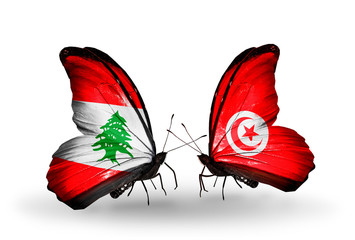 Two butterflies with flags Lebanon and Tunisia