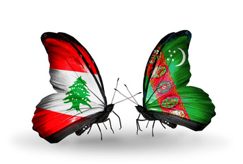 Two butterflies with flags Lebanon and Turkmenistan