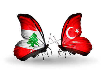 Two butterflies with flags Lebanon and Turkey