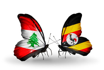 Two butterflies with flags Lebanon and Uganda
