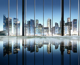 City Lights Urban Reflection Buildings View Concept