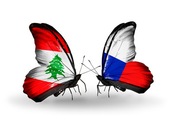 Two butterflies with flags Lebanon and Czech