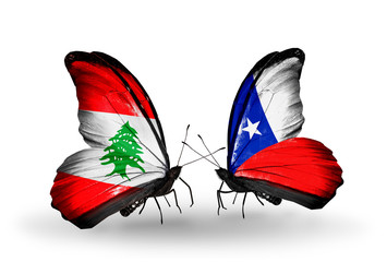 Two butterflies with flags Lebanon and Chile