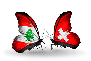 Two butterflies with flags Lebanon and Switzerland