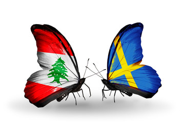 Two butterflies with flags Lebanon and Sweden