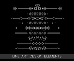 vector set of line art border elements for design