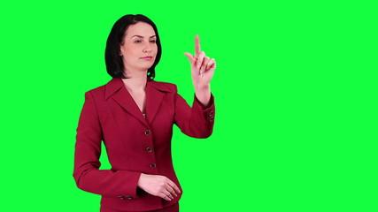 Business woman uses a virtual screen chroma key