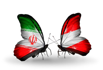 Two butterflies with flags Iran and Austria