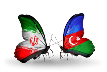 Two butterflies with flags Iran and Azerbaijan
