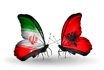 Two butterflies with flags Iran and Albania