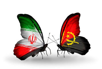 Two butterflies with flags Iran and Angola