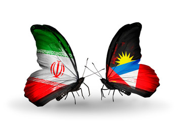 Two butterflies with flags Iran and Antigua and Barbuda
