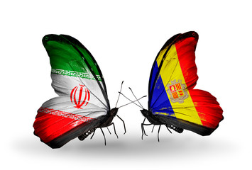 Two butterflies with flags Iran and Andorra