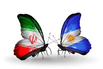 Two butterflies with flags Iran and Argentina