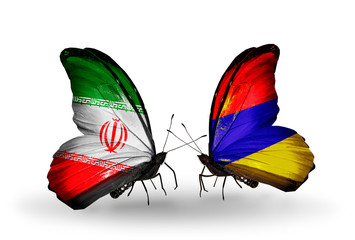 Two butterflies with flags Iran and Armenia