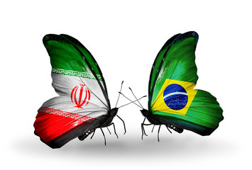 Two butterflies with flags Iran and Brazil