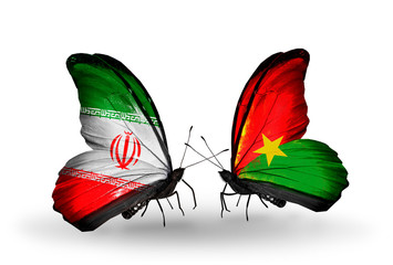 Two butterflies with flags Iran and Burkina Faso