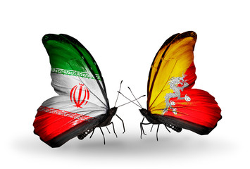 Two butterflies with flags Iran and Bhutan