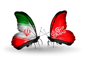 Two butterflies with flags Iran and Waziristan